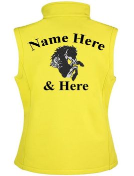 Result Core Personalised Embroidered Ladies Equestrian Softshell Gilet inc embroidery design/lettering to back. 7 colours