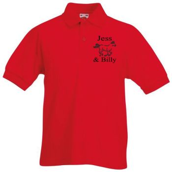 Personalised Kids Equestrian Polo Shirt includes motif design and name embroidery to chest.