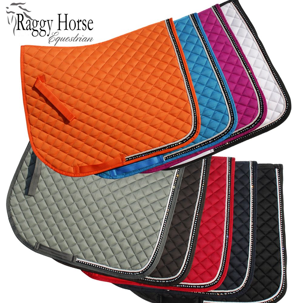 Personalised Elite Diamante Trim Saddle Cloth inc embroidery. 6 Colours.
