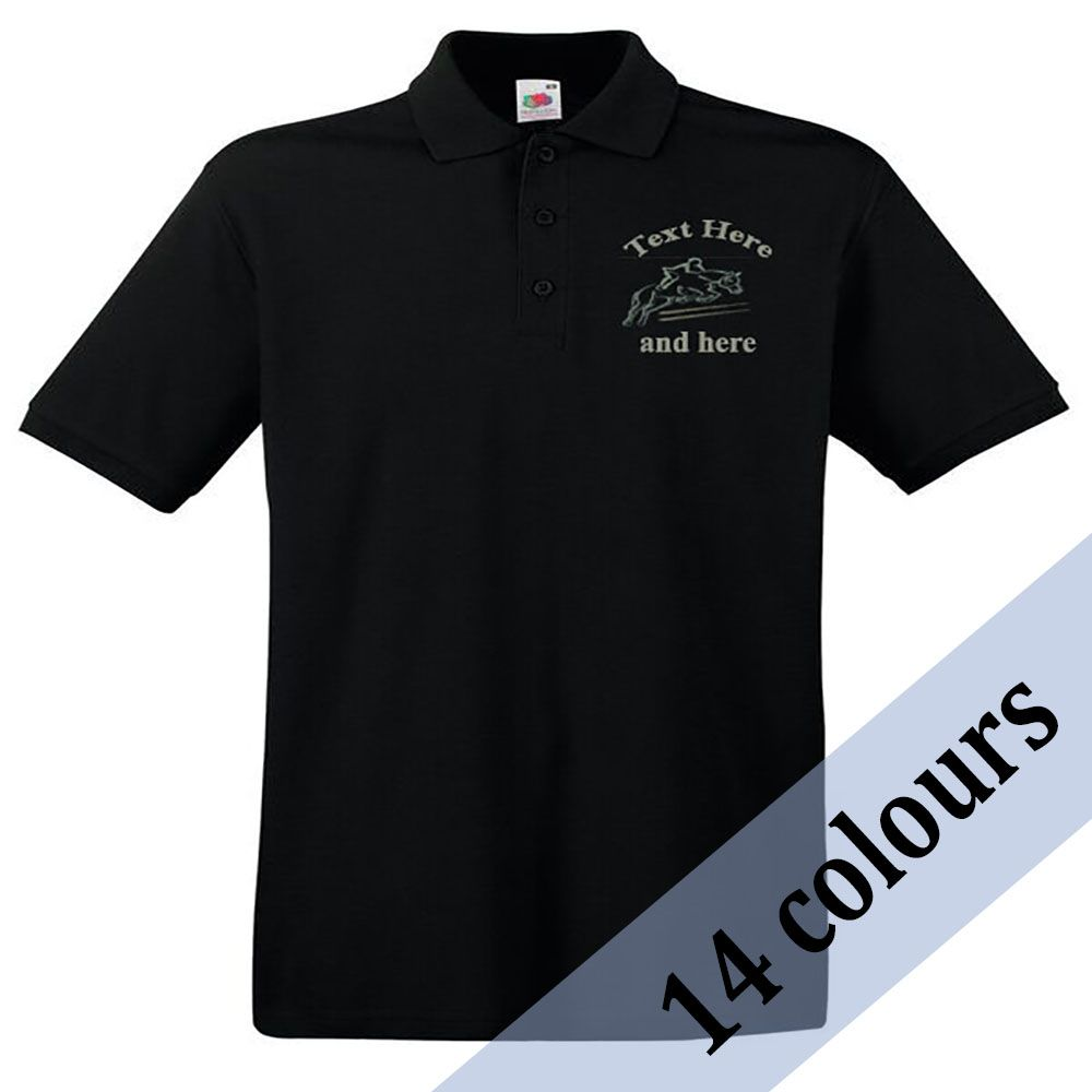 <!--003-->Personalised Unisex Adult Polo Shirt inc embroidered motif/name t