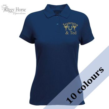 Personalised Lady-Fit Polo Shirt inc embroidered motif and name to front.