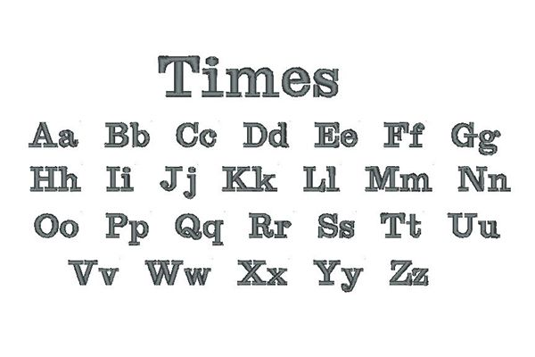 Times Embroidery Lettering Style