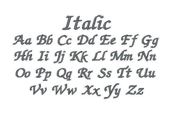 Italic Embroidery Lettering Style