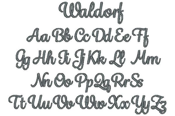 Waldorf Embroidery Lettering Style