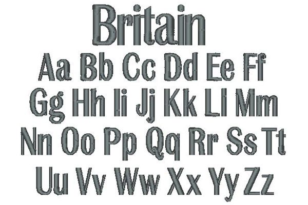 Britain Embroidery Lettering Style
