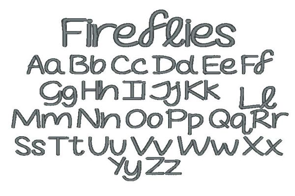 Fireflies Embroidery Lettering Style