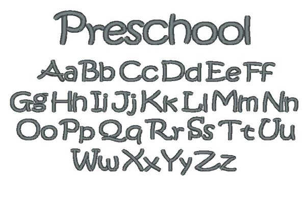 Preschool Embroidery Lettering Style
