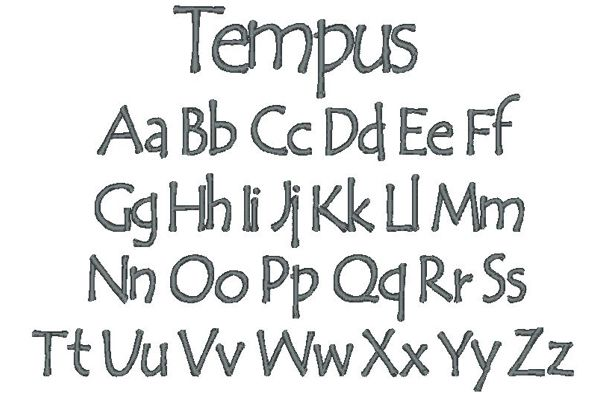 Tempus Embroidery Lettering Style