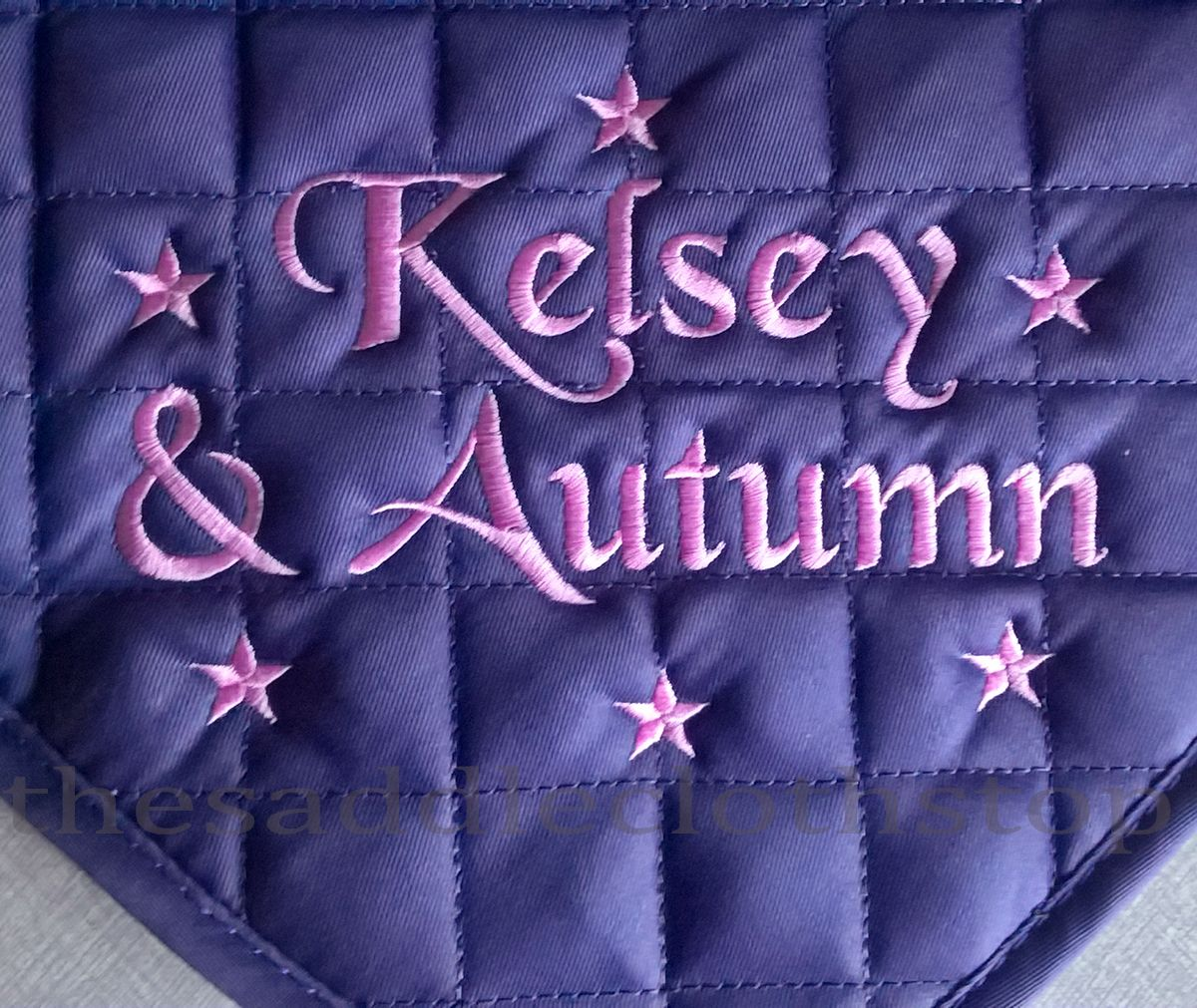 Saddle Cloth with Black Chancery lettering and embroidered stars