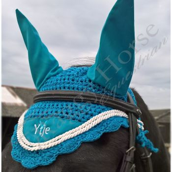 Personalised 'Wave' Ear Bonnet inc embroidery. 3 sizes,  9 colours