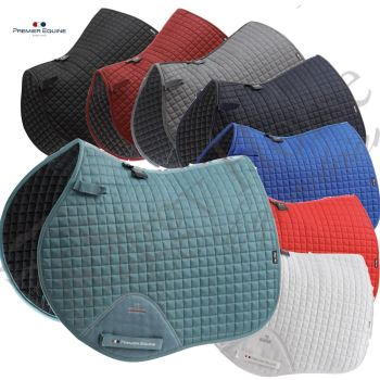 Premier Equine Personalised Close Contact GP/Jump Cotton Saddle Pad inc embroidery. 8 colours
