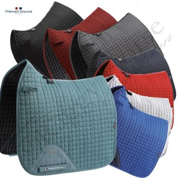 Premier Equine Personalised Close Contact Dressage Cotton Saddle Pad inc embroidery. 8 colours
