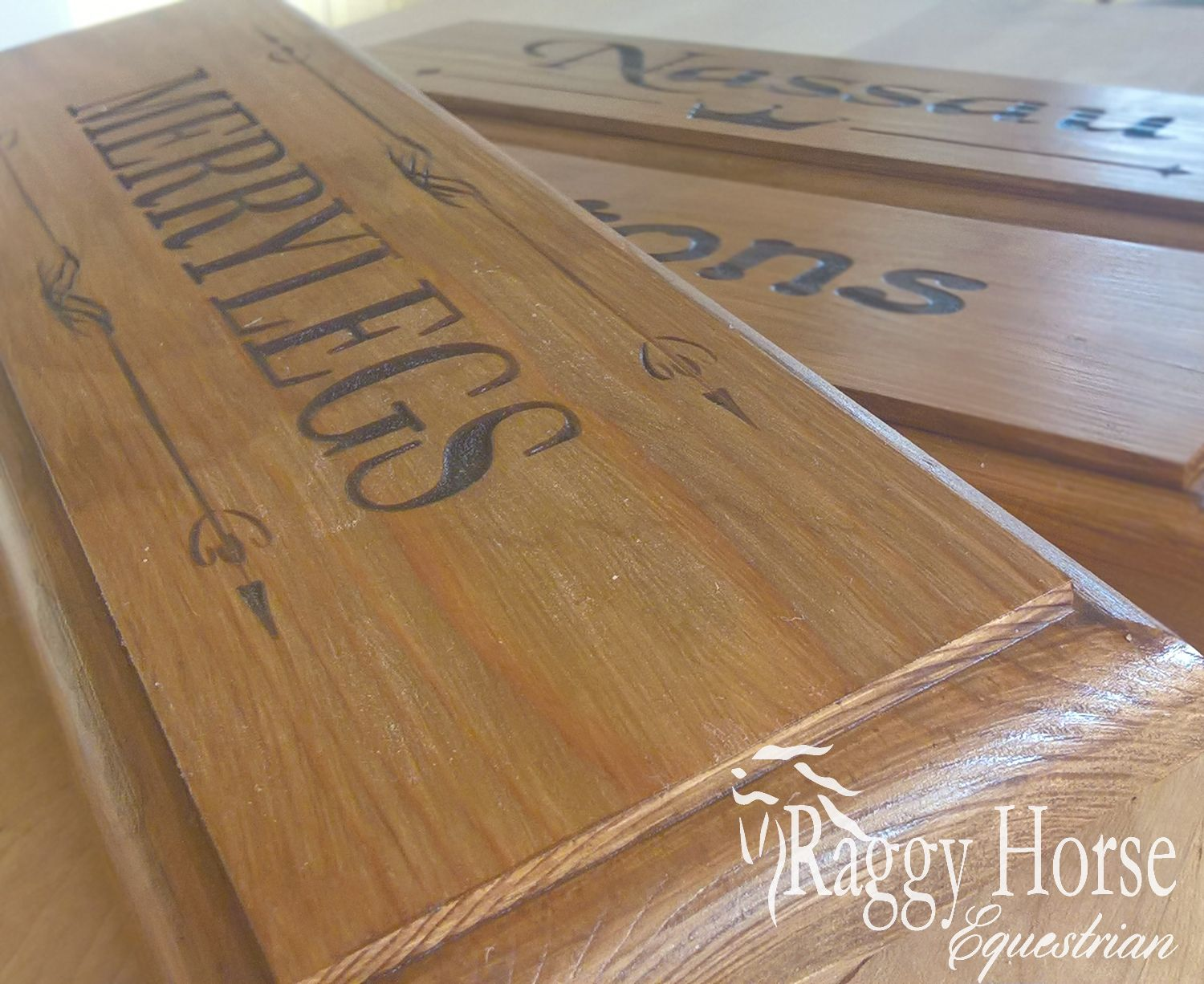 Personalised Wood Stable Door Plaques exclusively from Raggy Horse Equestrian