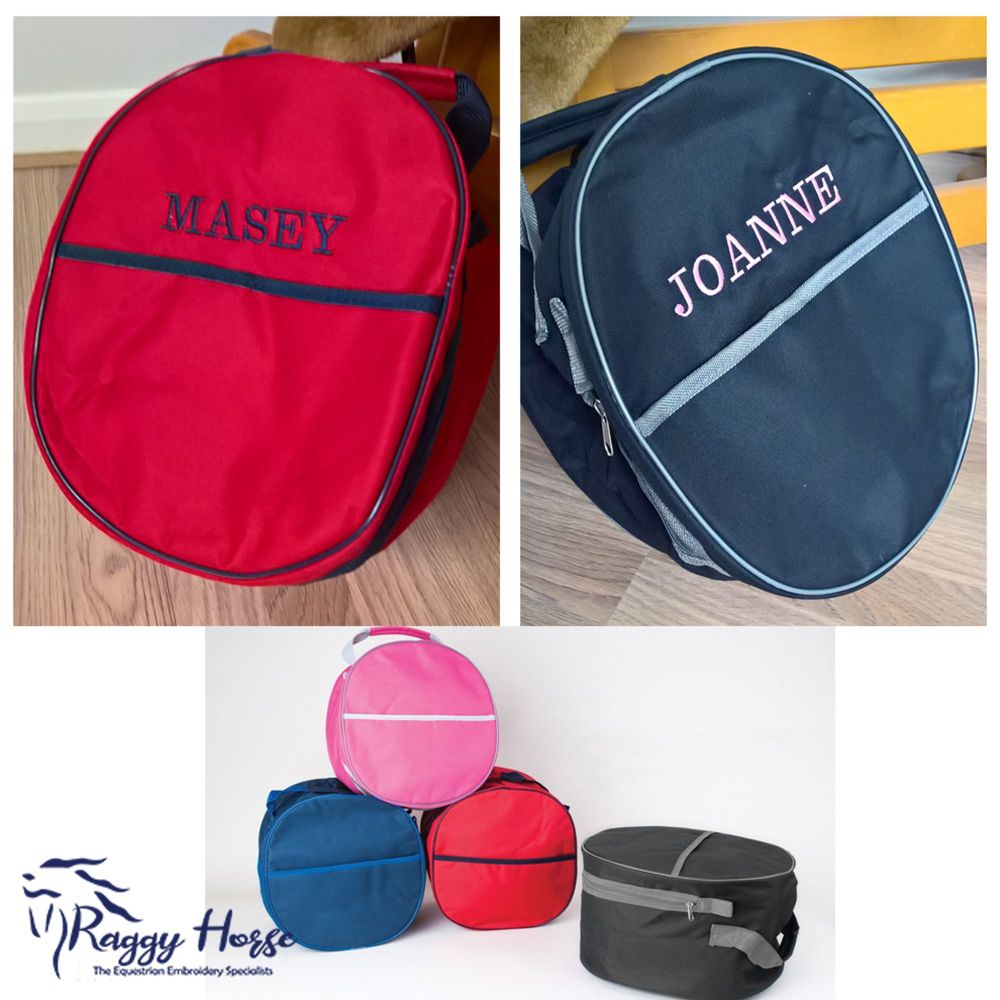 Personalised Embroidered Hat Bag.  Available in 4 colours.