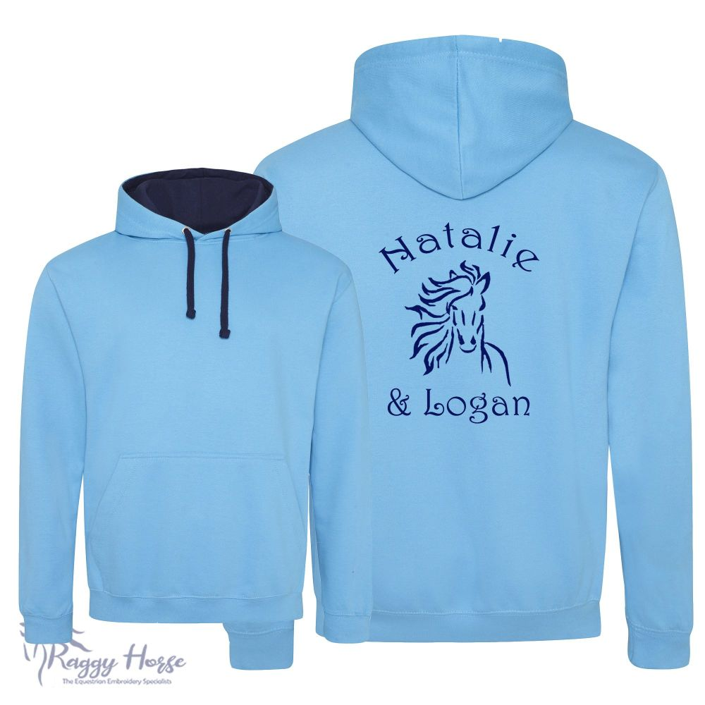 Adult Unisex Personalised Contrast Equestrian Hoodie inc embroidery.