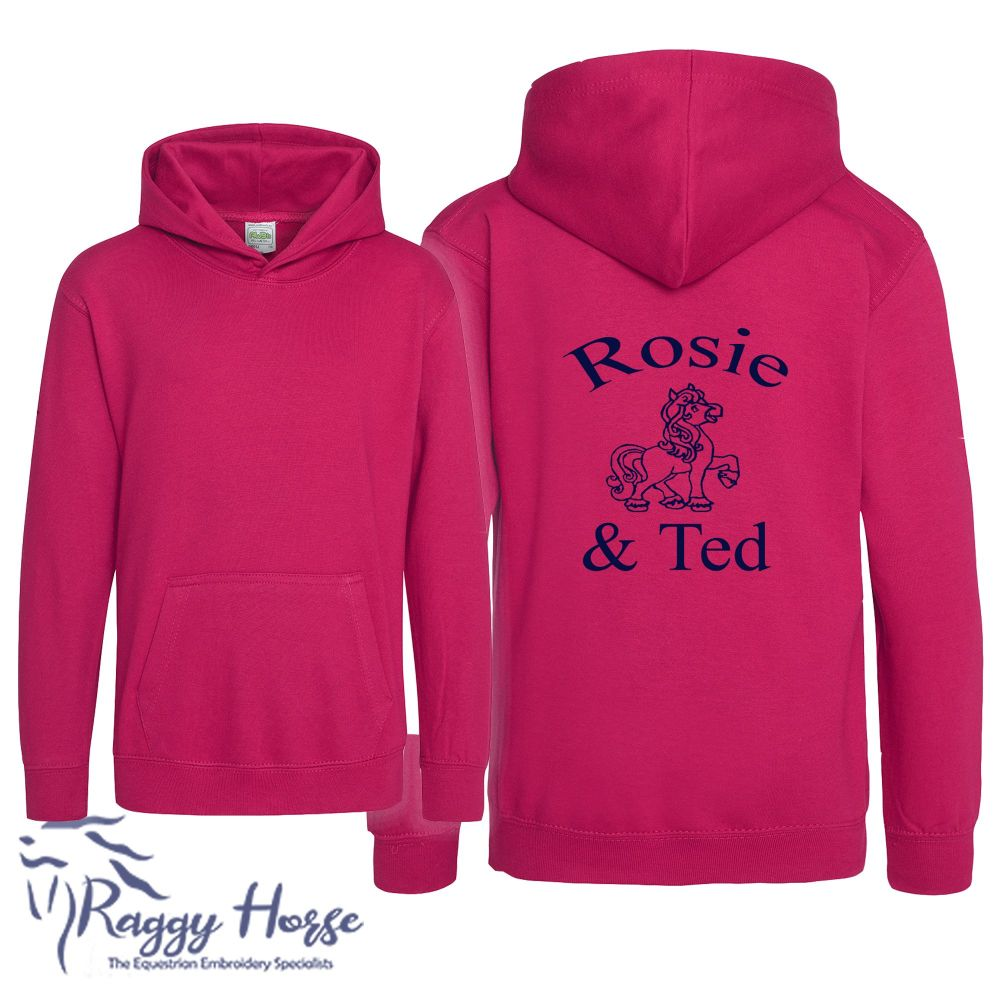 <!--001-->Kids Personalised Equestrian Hoodie inc embroidery.  24 colours.