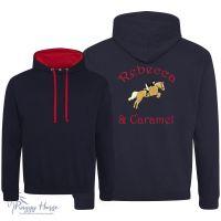 <!--002-->Personalised Kids Contrast Equestrian Hoodie inc embroidery.
