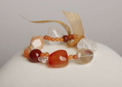 Simply Stunning Bracelet - Red Agate & Quartz Crystal