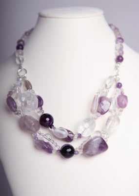 Simply Stunning Necklace - Amethyst & Quartz Crystal
