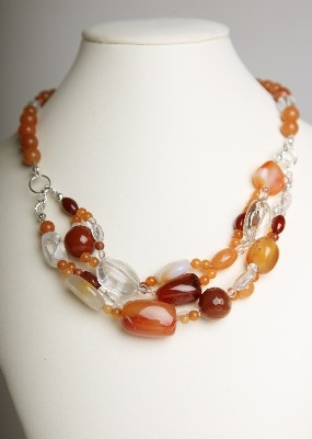 Simply Stunning Necklace - Red Agate & Quartz Crystal