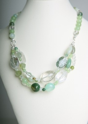 Simply Stunning Necklace - Green Agate & Quartz Crystal