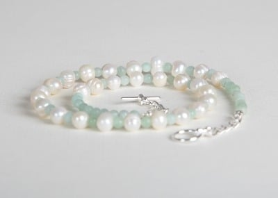 Little Bit of Pearls Necklace - Blue Amazonite