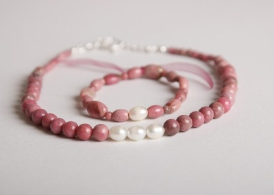 Glamour & Pearls Necklace - Pink Rhodonite