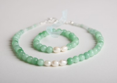Glamour & Pearls Necklace - Blue Amazonite