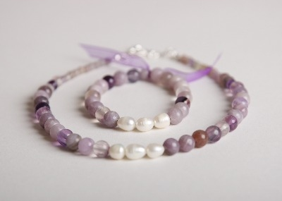 Glamour & Pearls Necklace - Flourite & Lilac Stone
