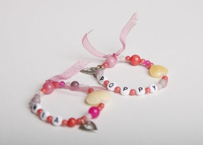 LouMae Designs Original Personalised Children's Bracelet With Silver Pewter Heart Charm