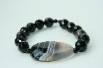 LouMae Loves Statement Bracelets - Dark is the Night - Black Agate