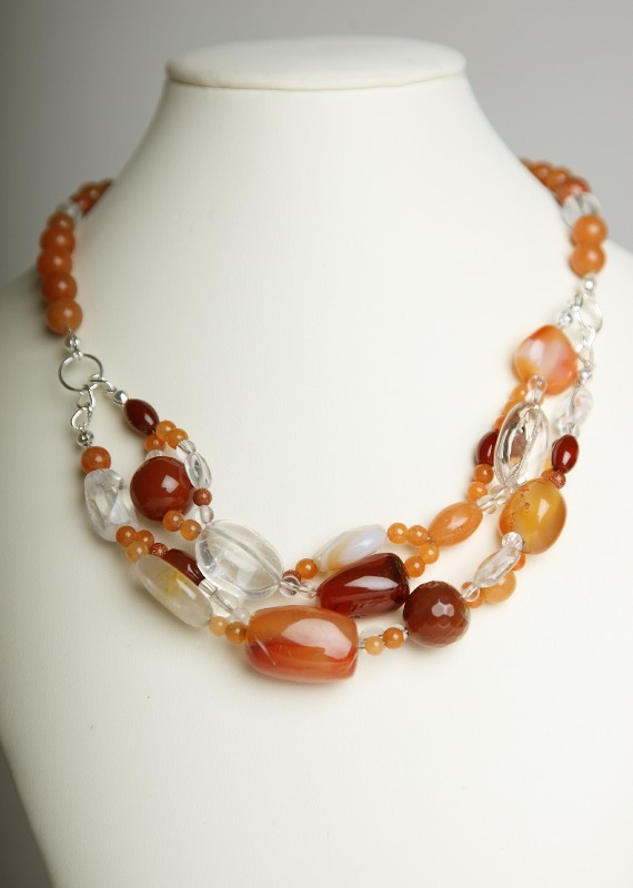 as ssravn simply stunning red agate_quartz necklace