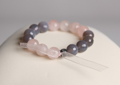 LouMae Loves Statement Bracelets - Rosie - Faceted Rose Quartz and Grey Agate