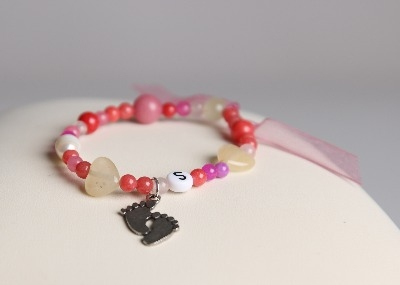 LouMae Designs Small Steps Children's Bracelet With Antiqued Pewter Charm