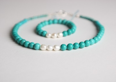 Glamour & Pearls Necklace - Turquoise