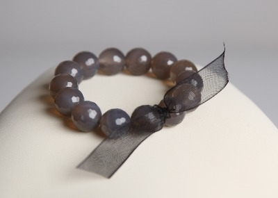 LouMae Loves Statement Bracelets - Gisele - Faceted Grey Agate Little Sister 12mm
