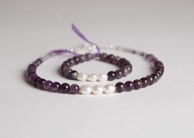 Glamour & Pearls Necklace  - Amethyst