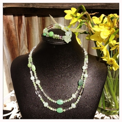 may birthstone chrysoprase necklace and bracelet set
