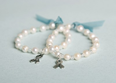 Ovarian Cancer Action Bracelet - Blue Amazonite (with charm)
