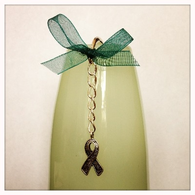 Ovarian Cancer Action Bookmark - Awareness Ribbon Charm & a Touch of Teal