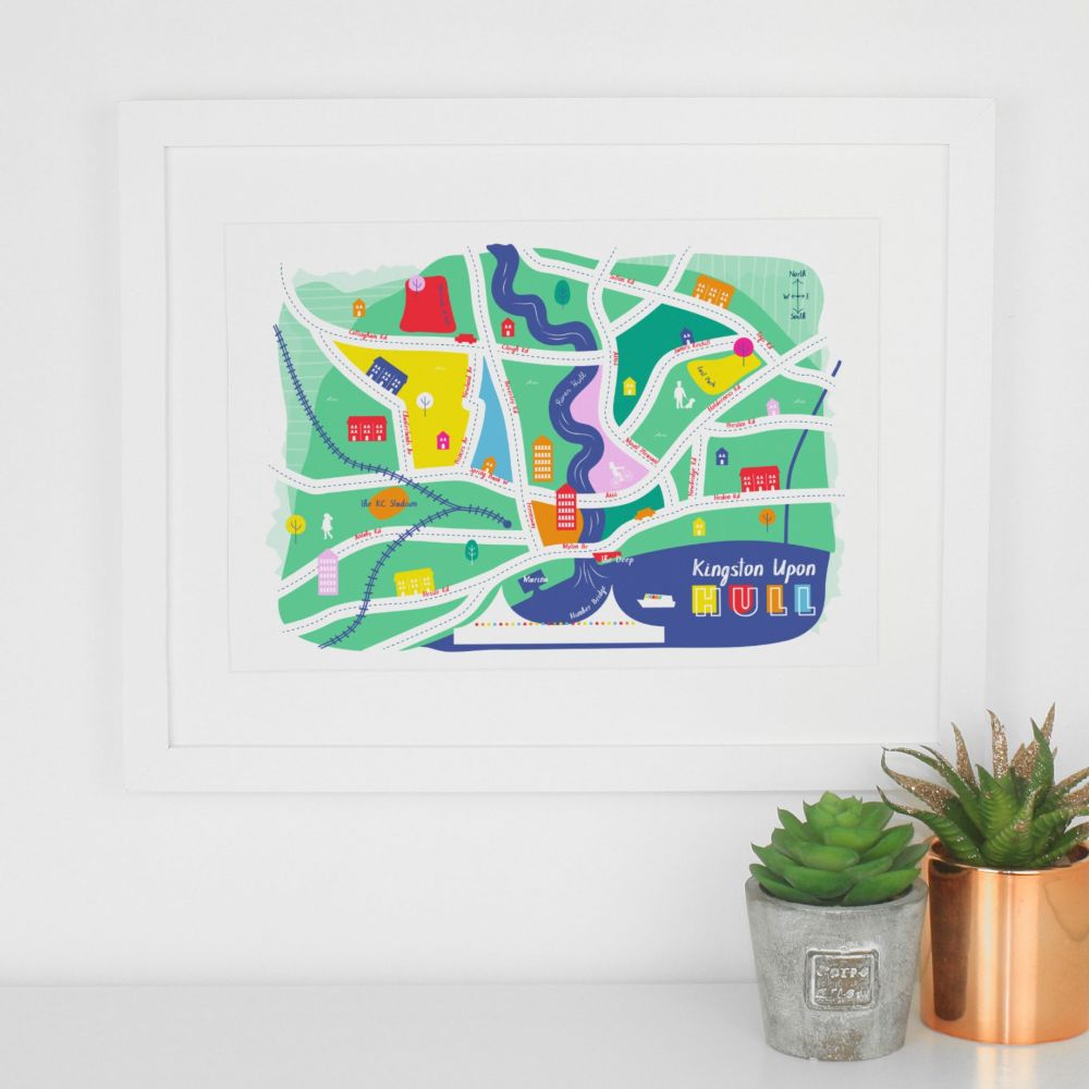 Hull Illustrated Map Art Print
