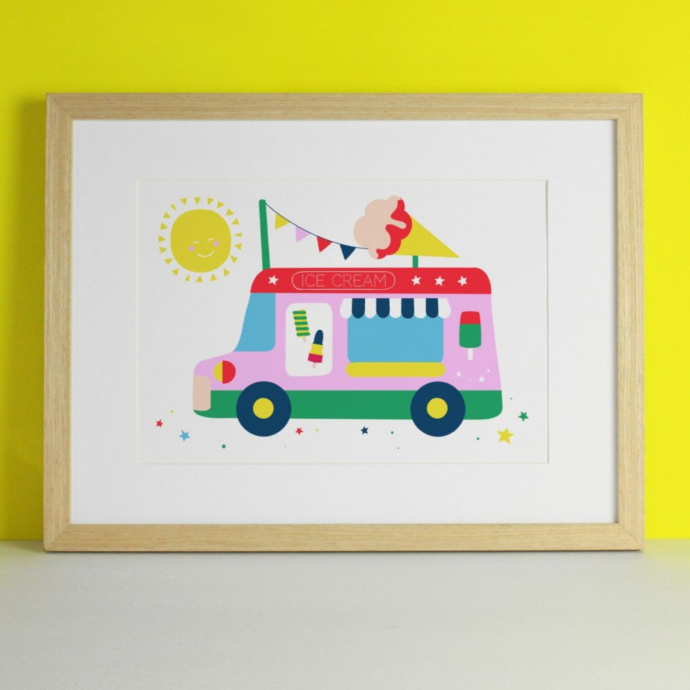 Ice Cream Van Bright & Colourful Art Print