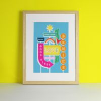 Retro Light Up Sign Rainbow Love Art Print
