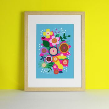 Boobs 'CoppaFeel' Artwork Floral Brights Art Print