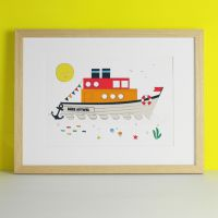 Personalised Nautical Boat HMS Art Print