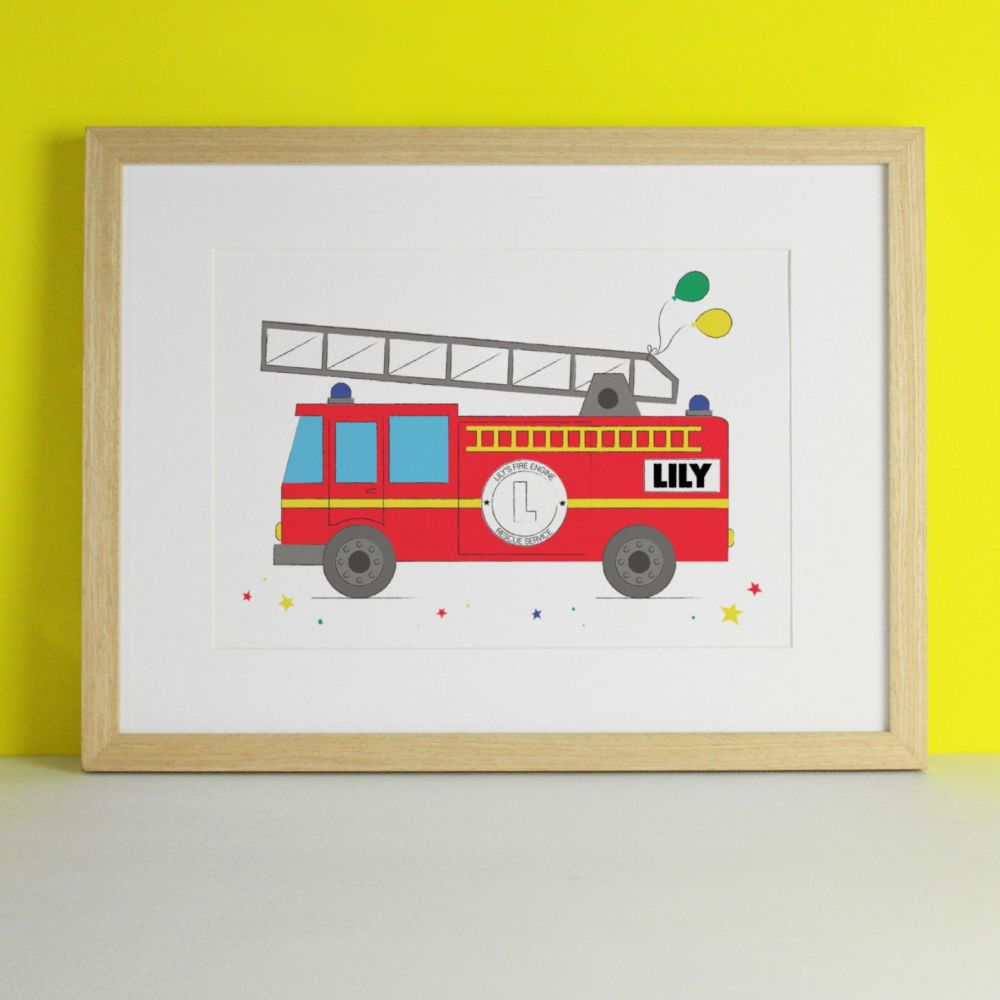 Personalised Fire Engine Art Print