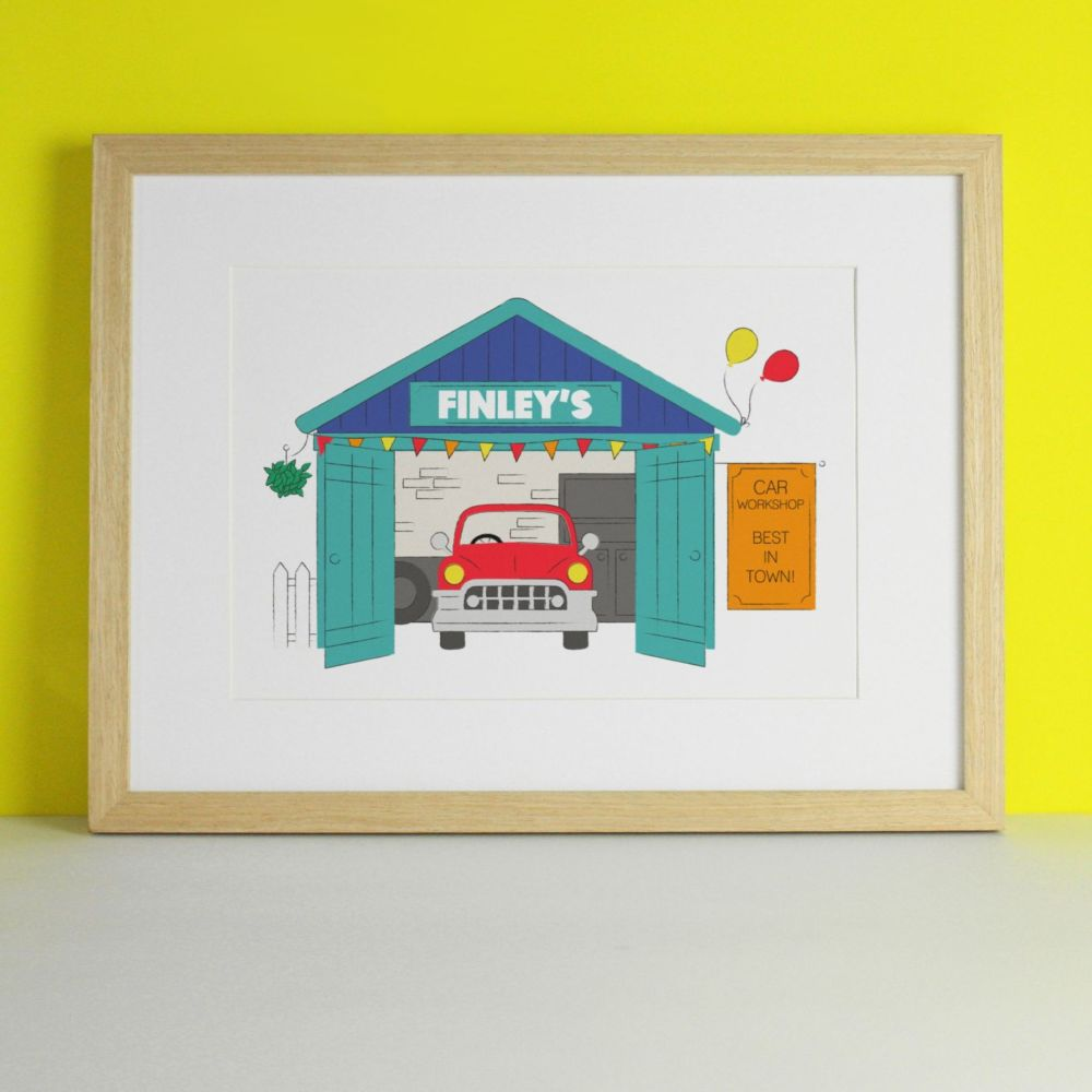Personalised Little Garage Nursery Art Print