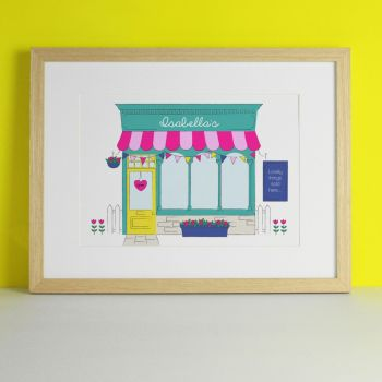 Personalised Little Shop Girl's Art Print