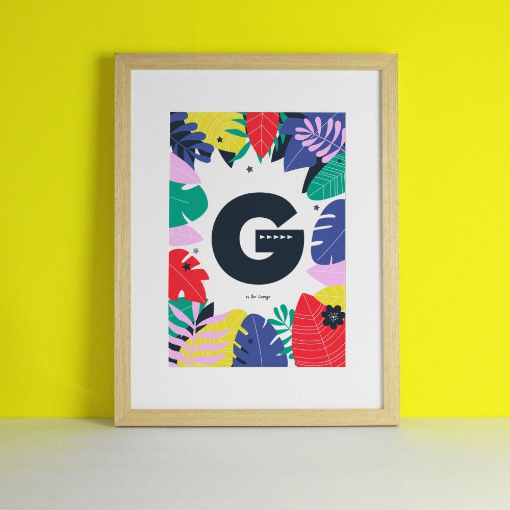 Monogram Personalised Jungle Safari Nursery Art Print