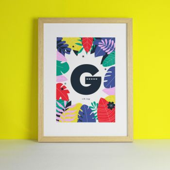 Monogram Personalised Jungle Safari Nursery Art Print